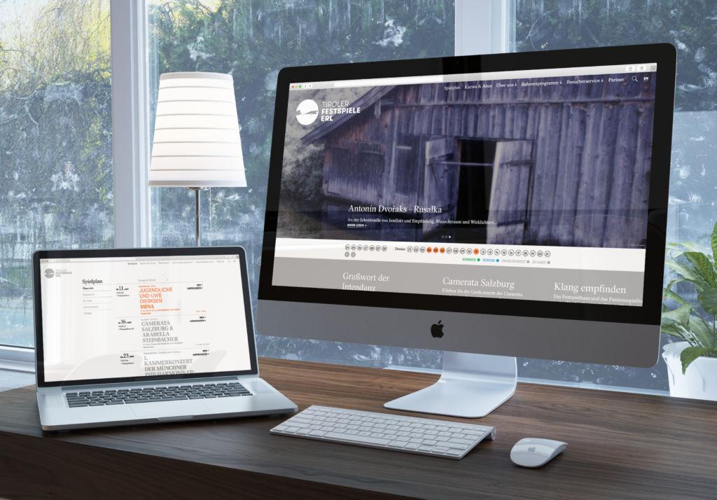 Ansicht der neuen Website der Tiroler Festspiele Erl auf Laptop sowie Bildschirm