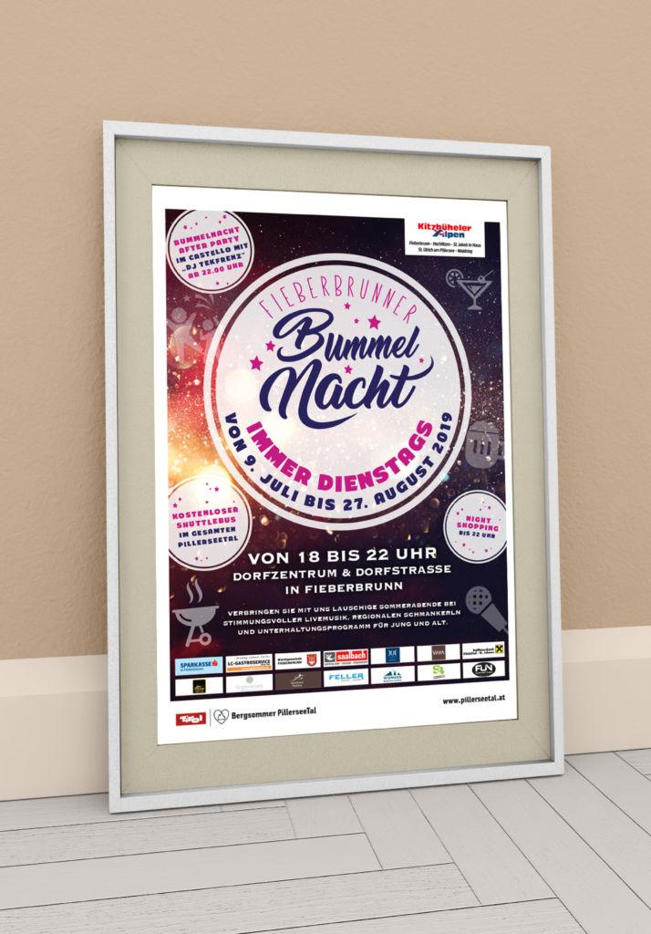 Plakat Bummelnacht in Fieberbrunn