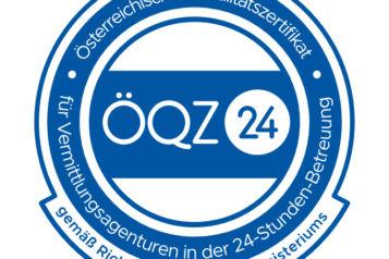 """Österreichisches Qualitätszertifikat für Vermittlungsagenturen in der 24-Stunden-Betreuung - kurz """"ÖQZ-24""""."""