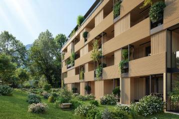 Mit dem Naturquartier errichtet das Team von Unterberger Immobilien tirolweit das größte Wohnhaus in Massivholzbauweise.
