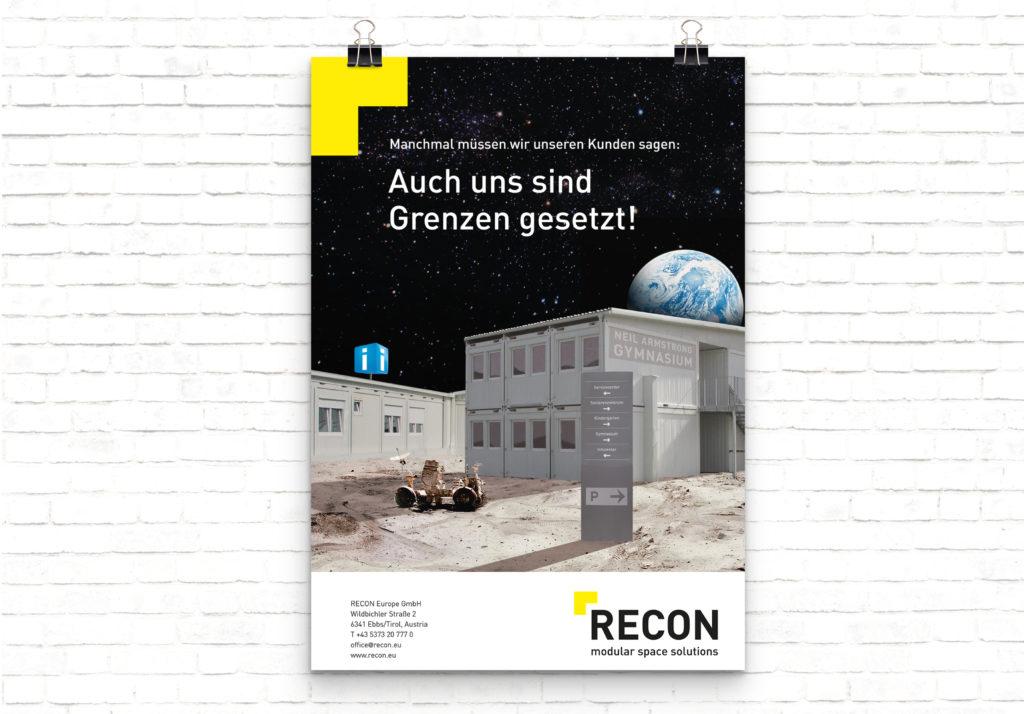 Ein kreatives Sujet für Recon modular space solutions, auf dem ein Container auf dem Mond / im Weltall zu sehen ist.