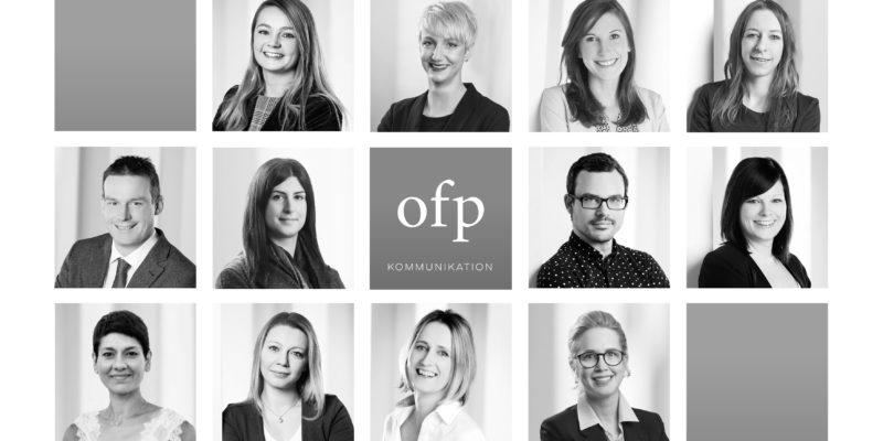 Porträtfotos aller Mitarbeiter der Full Service Agentur ofp kommunikation
