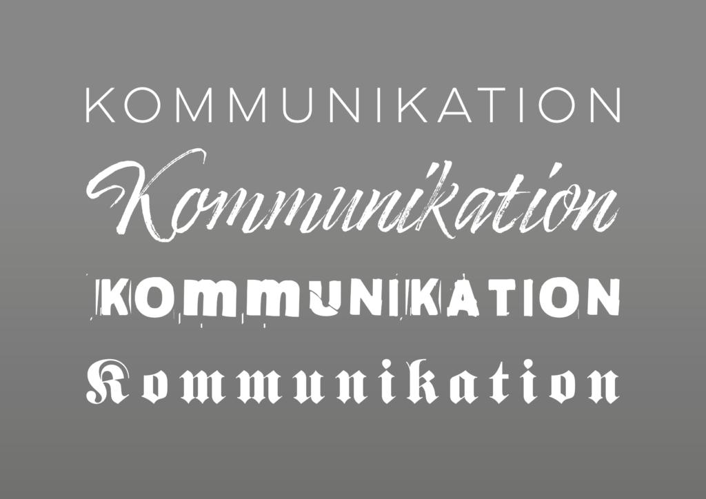 """Wort """"kommunikation"""" in verschiedenen Schriftarten geschrieben"""