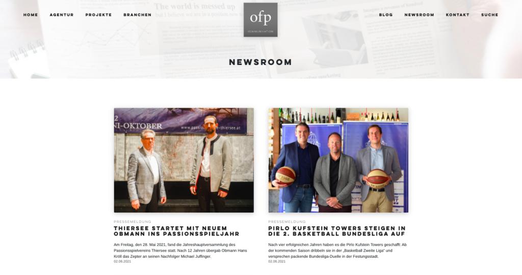 Screenshot eines Presse-Newsrooms auf einer Agenturwebsite